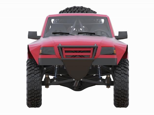 Am besten vorbereiteter roter sport-race-truck für das wüstengelände