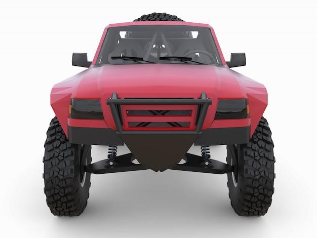 Am besten vorbereiteter roter sport-race-truck für das wüstengelände.