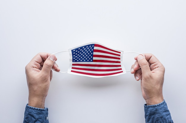 Amerika flagge auf maske