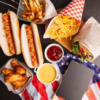 Amerikanische fast food zusammensetzung