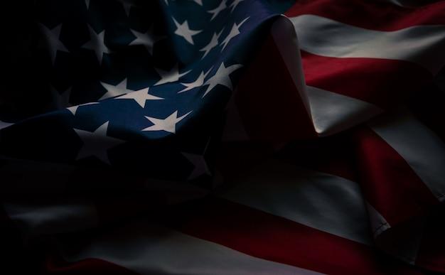Amerikanische flagge der nahaufnahme, usa-flaggenhintergrund mit kopienraum. draufsicht