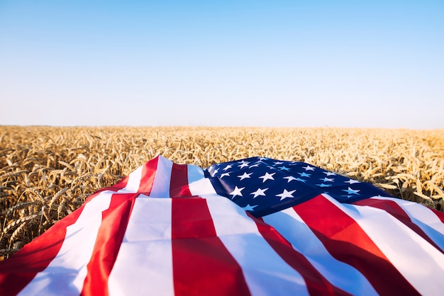 Amerikanische flagge im weizenfeld, die starke landwirtschaft, wirtschaft und freiheit der vereinigten staaten von amerika darstellt