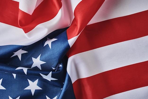 Amerikanische flagge. usa flagge weht, nahaufnahme