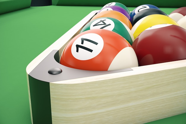 Amerikanische pool-snooker-bälle der 3d-illustration.