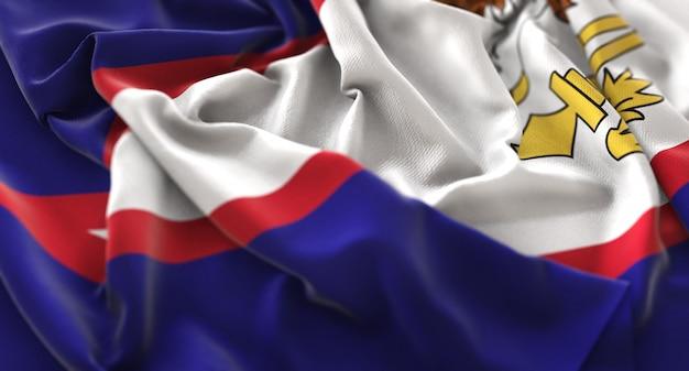 Amerikanische samoa-flagge gekräuselt schöne winken makro nahaufnahme schuss