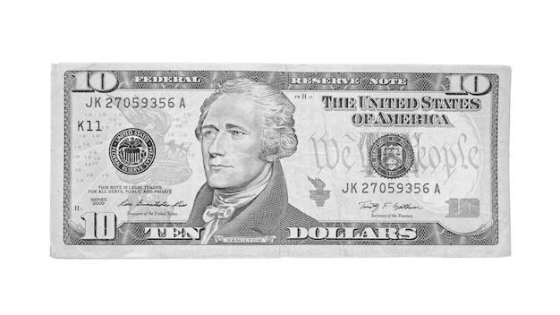 Amerikanischer zehn-dollar-schein lokalisiert auf weißem hintergrund