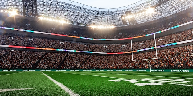 Amerikanisches fußballstadion mit scheinwerferhintergrund, 3d rendern