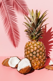 Ananas mit kokosnuss-arrangement