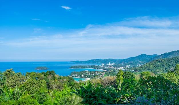 Andamanische landschaft von phuket. patong beach, karon beach, kata beach