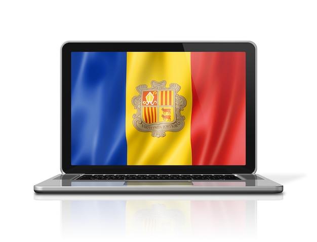 Andorra-flag auf laptop-bildschirm isoliert auf weiss. 3d-darstellung rendern.