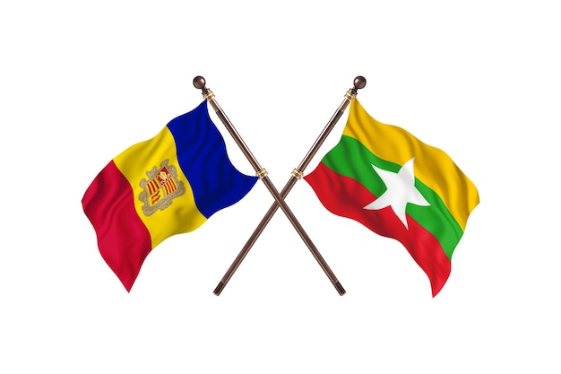 Andorra gegen burma zwei länder flaggen hintergrund
