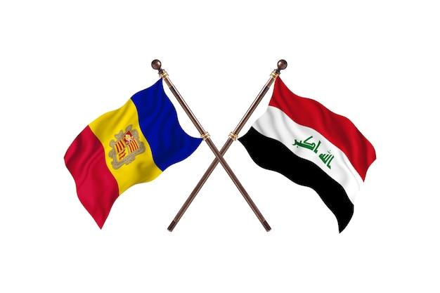 Andorra gegen irak zwei länder flaggen hintergrund