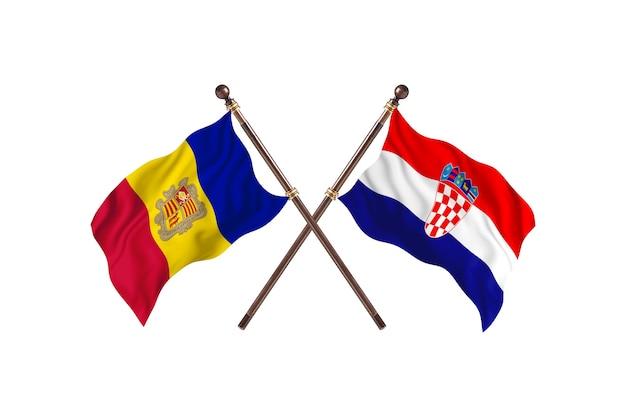 Andorra gegen kroatien zwei länder flaggen hintergrund