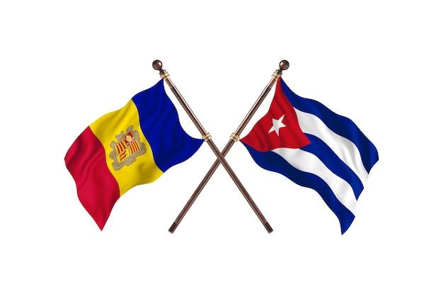 Andorra gegen kuba zwei länder flaggen hintergrund