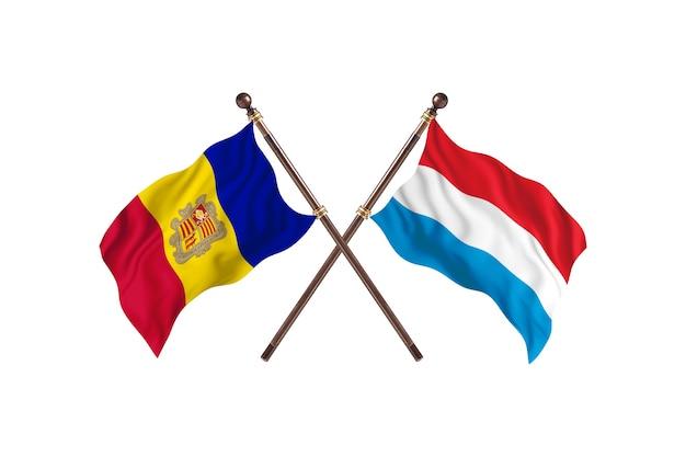 Andorra gegen luxemburg zwei länder flaggen hintergrund