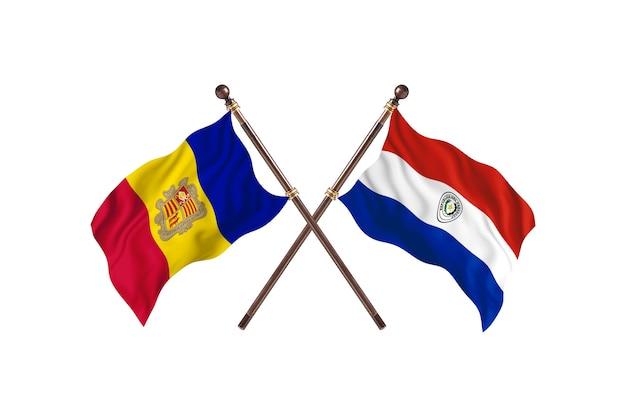 Andorra gegen paraguay zwei länder flaggen hintergrund