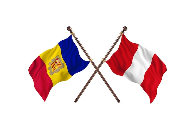 Andorra gegen peru zwei länder flaggen hintergrund