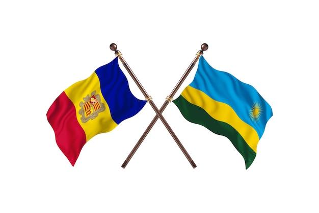 Andorra gegen ruanda zwei länder flaggen hintergrund