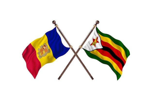 Andorra gegen simbabwe zwei länderflaggen hintergrund