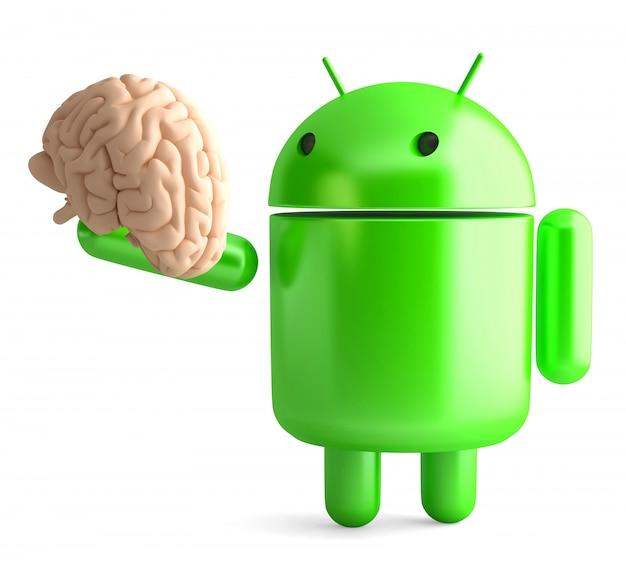 Android roboter, der menschliches gehirn hält. 3d-darstellung. isoliert. beschneidungspfad enthält