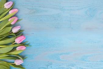 Angeordnete weiche Tulpen auf Holz