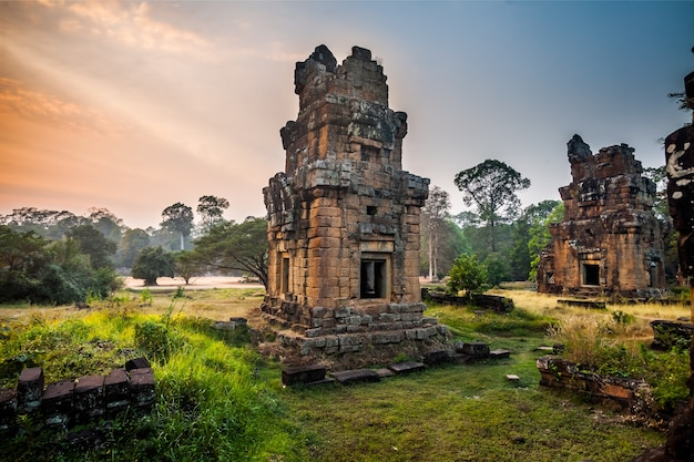 Angkor thom gärten in der nähe der elephants terrace in den tempeln von angkor, kambodscha. der tempel angkor wat ist das größte religiöse monument der welt. antike khmer-architektur