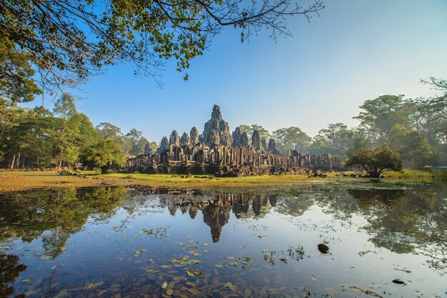 Angkor thom, gesicht des bayon schlosses in kambodscha