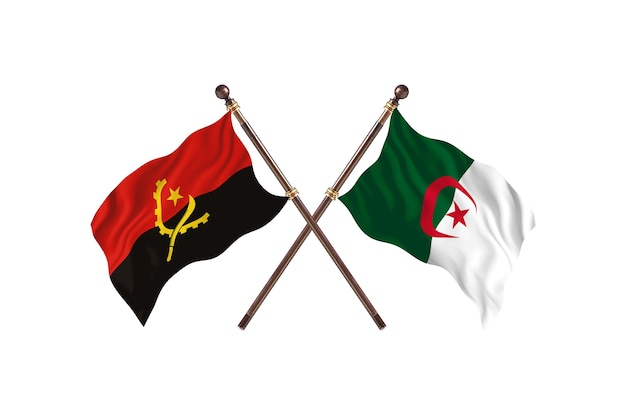 Angola gegen algerien zwei länder flaggen hintergrund
