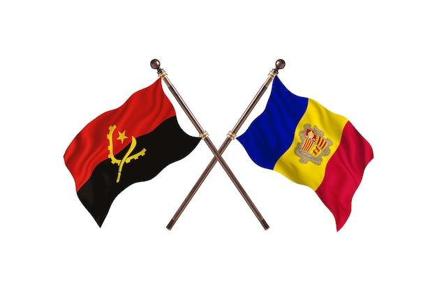 Angola gegen andorra zwei länder flaggen hintergrund