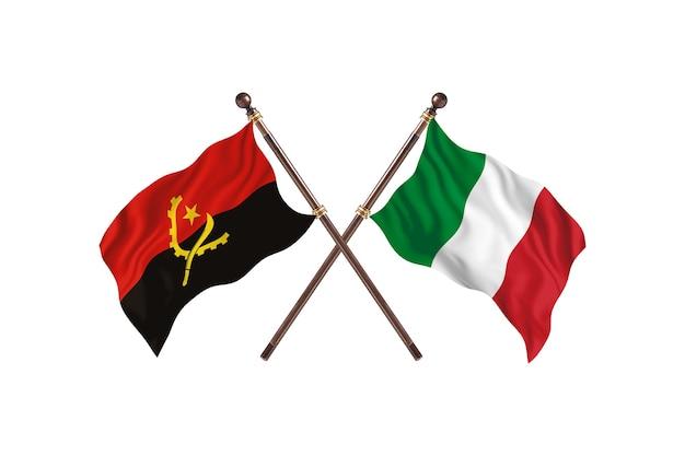 Angola gegen italien zwei länder flaggen hintergrund