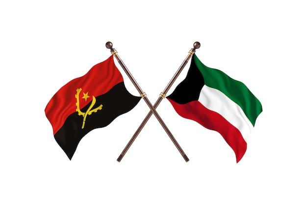 Angola gegen kuwait zwei länderflaggen hintergrund