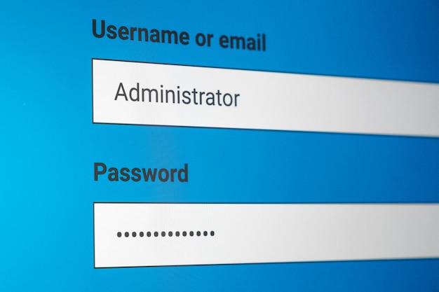 Anmeldebildschirm. benutzername und passwort auf dem computerbildschirm