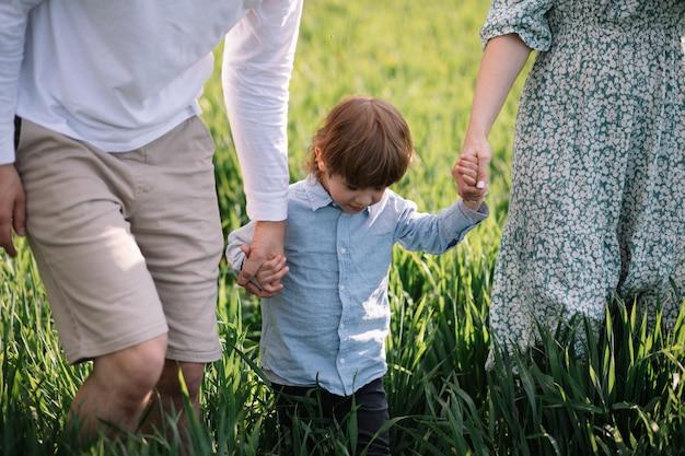 Annahme und glückliches kindheitskonzept, vater, mutter und sohn halten händchen und gehen auf grünem gras