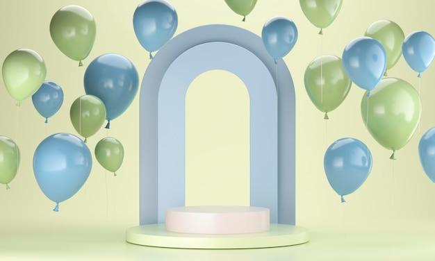 Anordnung der grünen und blauen luftballons