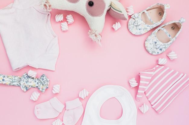 Anordnung der mädchenhaften baby-dusche