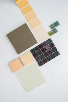 Anordnung der materialmuster, auswahl der materialien, auswahl