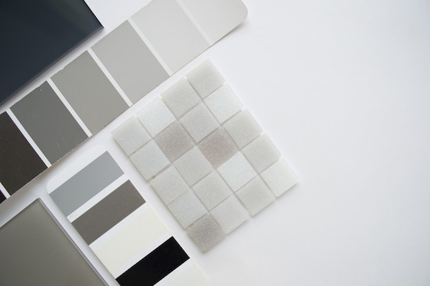 Anordnung der materialmuster, materialauswahl, draufsicht