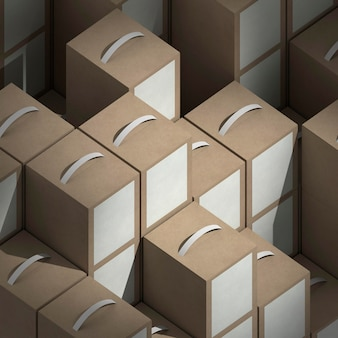 Anordnung der produktpakete mit hohem winkel
