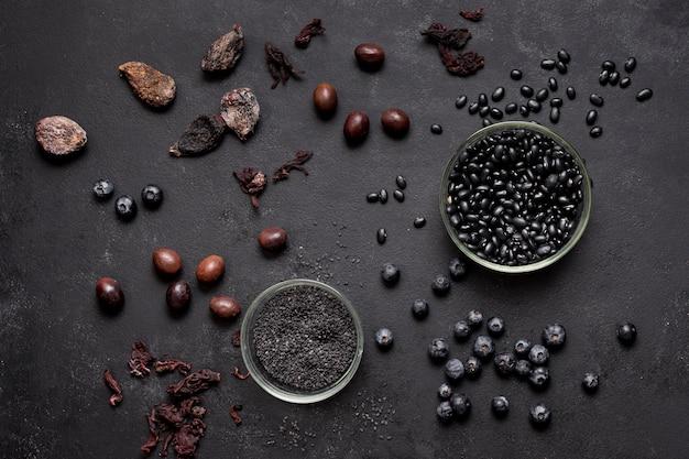 Anordnung für draufsicht der blaubeeren und der trockenfrüchte