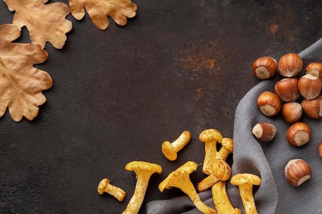 Anordnung gebackener pilze mit haselnüssen