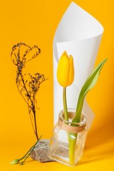 Anordnung mit einer tulpe in einer vase mit einem papierkegel