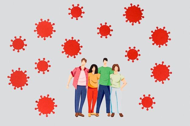 Anordnung von coronavirus und familie aus papier