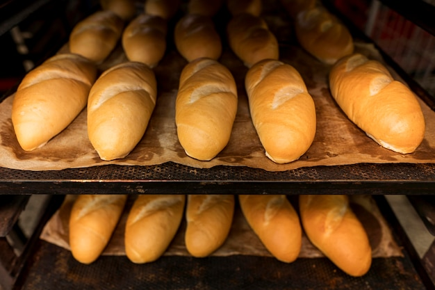 Anordnung von frisch gebackenem brot