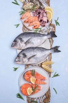 Anordnung von frischem ungekochtem fisch mit meeresfrüchten