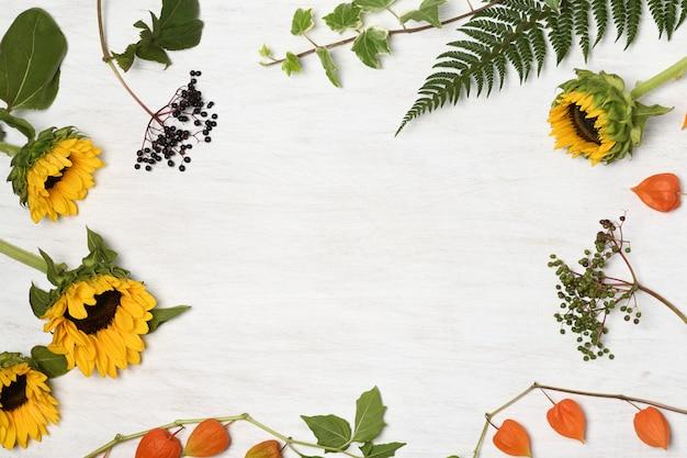 Anordnung von sonnenblumen und waldpflanzen