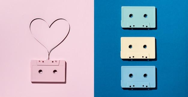 Anordnung von vintage-kassetten