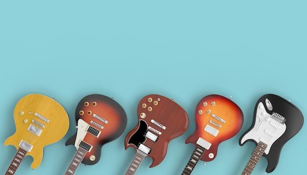 Ansammlung gitarren auf einem blauen hintergrund.