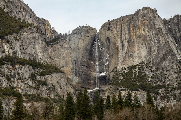 Ansicht der naturlandschaft am yosemite nationalpark im winter