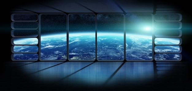 Ansicht der planetenerde von den wiedergabeelementen eines enormen raumschifffensters 3d dieses bildes geliefert von der nasa
