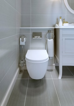 Ansicht der porzellantoilette im teuren badezimmer